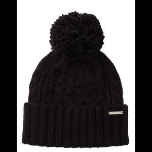 Michael Kors Pom Pom Cable Knit Beanie Hat